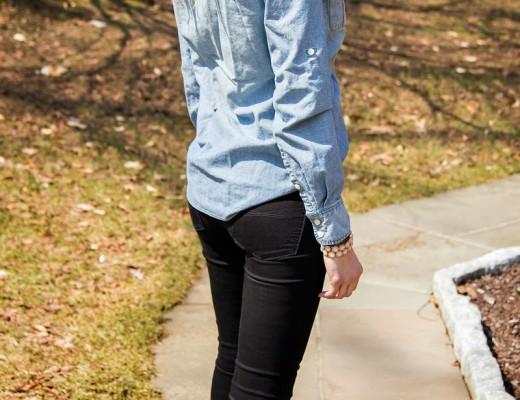 Jean Button Down & Metallic Heels