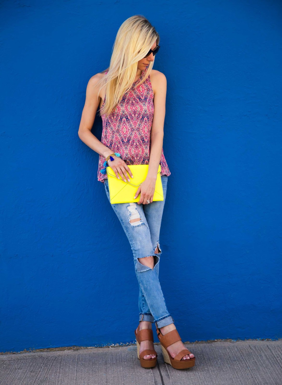 Patterned Tank & Ripped Jeans