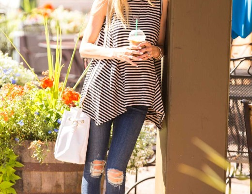striped top and topshop bucket bag