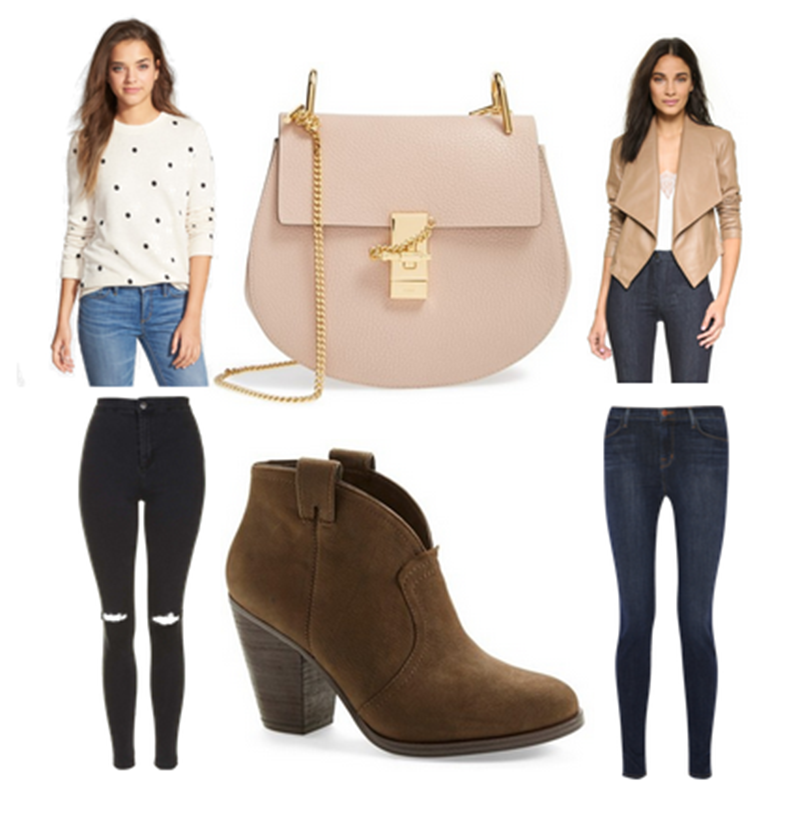 chloe bag, vince camuto bootie, leather jacket, polka dot sweatshirt