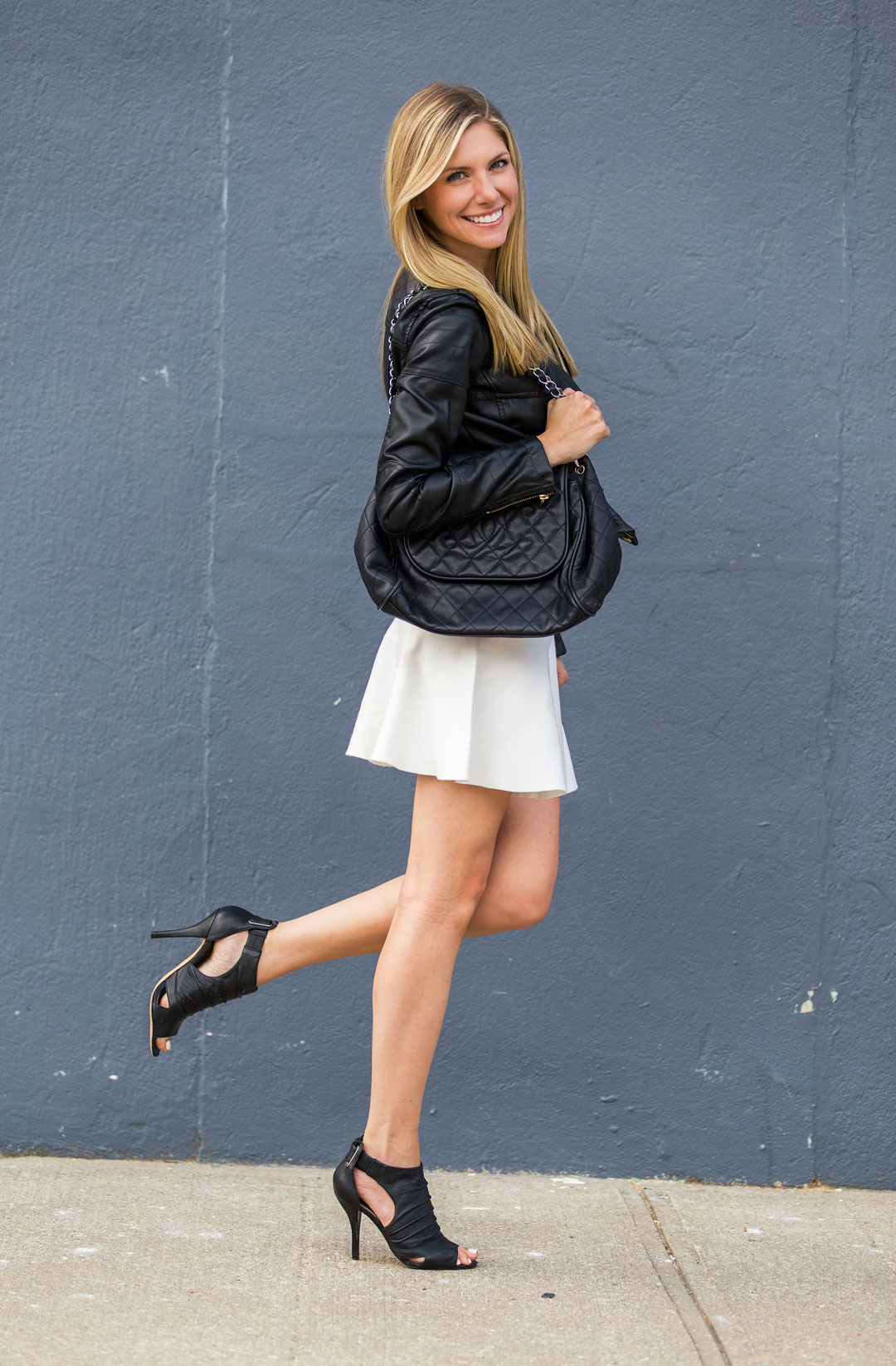 leather jacket and white skirt from zara