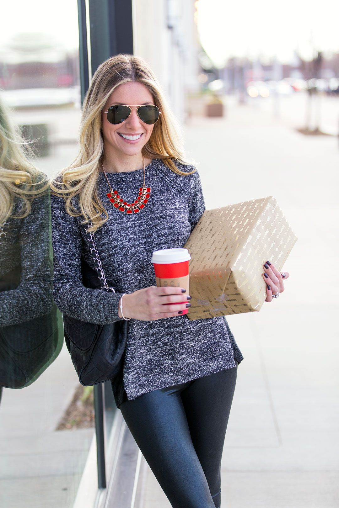 Chanel purse, Loft sweater, liquid leggings