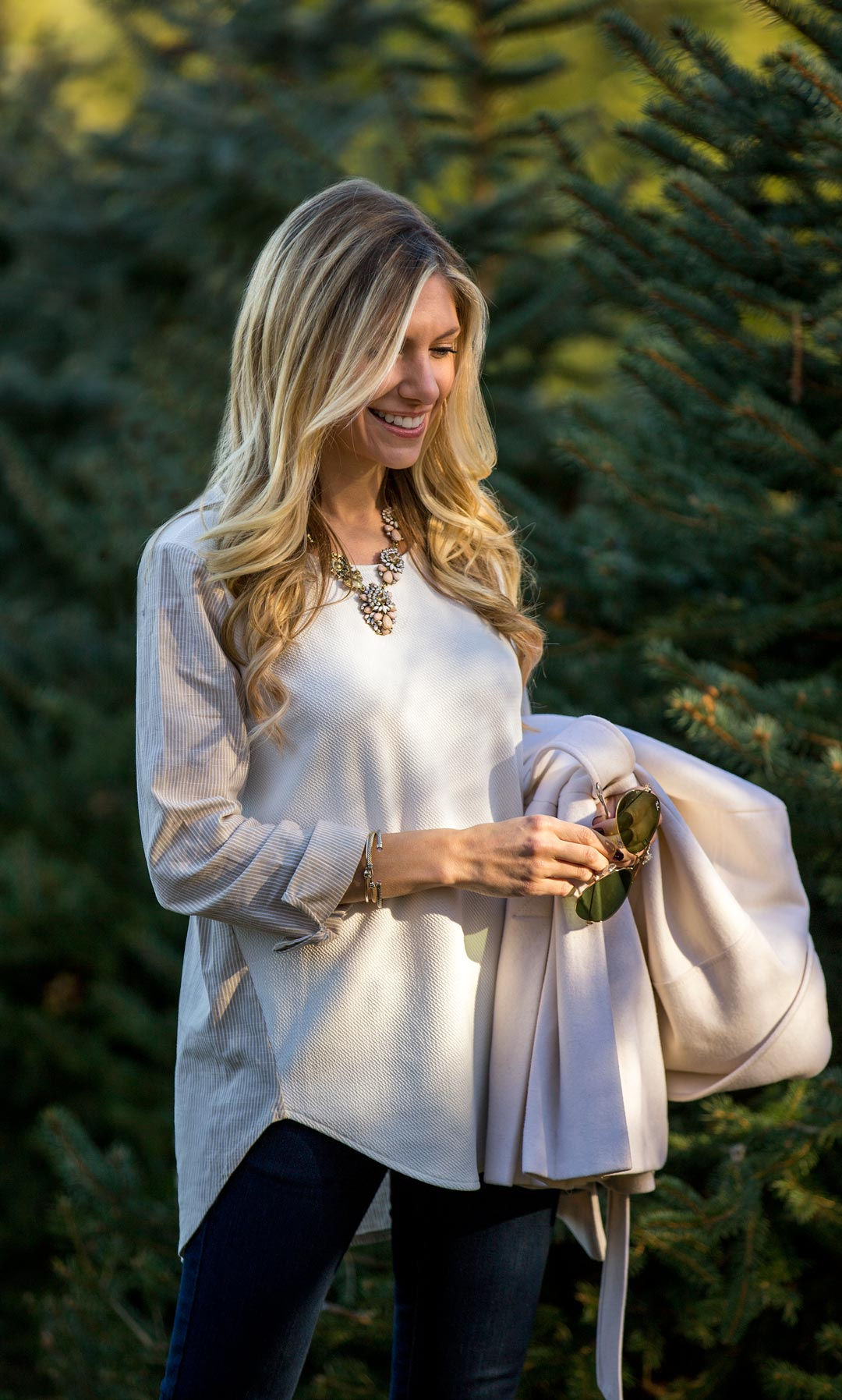White oversized top and statement necklace