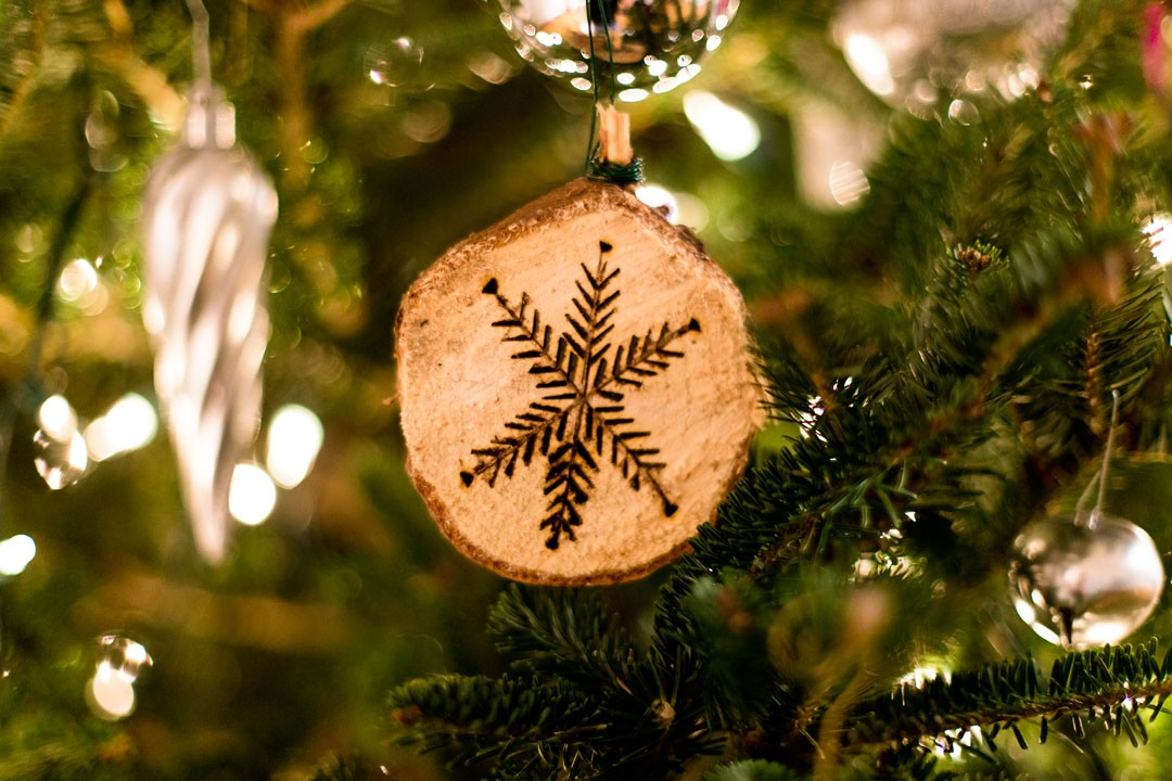 Wooden snow flake ornament