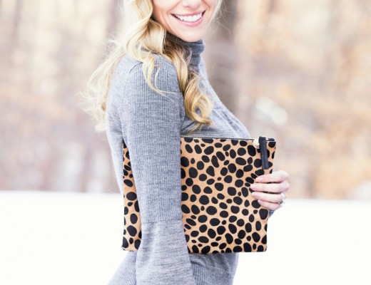 clare v. clutch and grey turtleneck