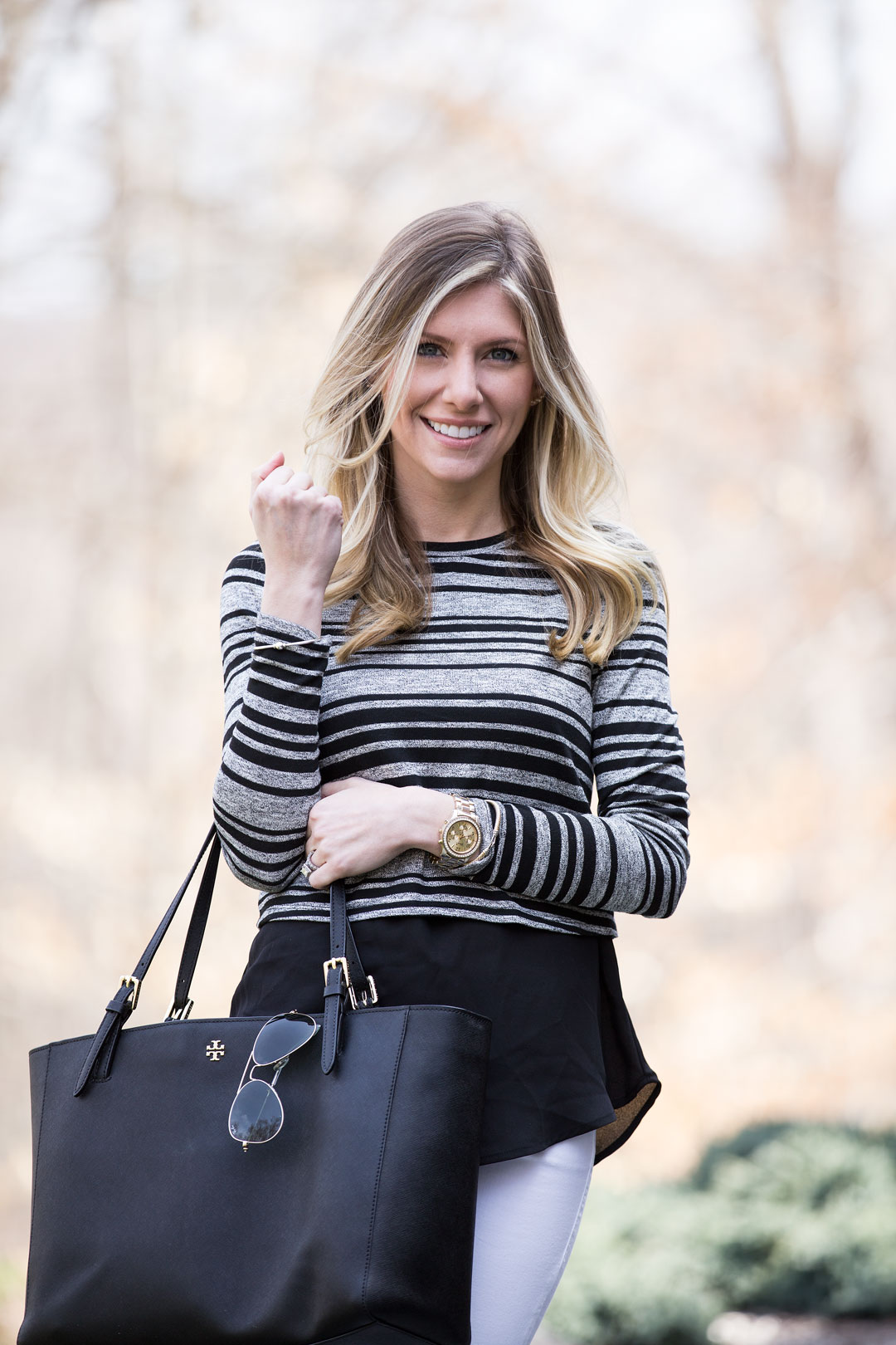 tory burch york tote and striped sweater