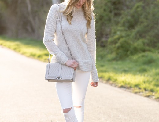 gray cozy sweater and ripped white jeans