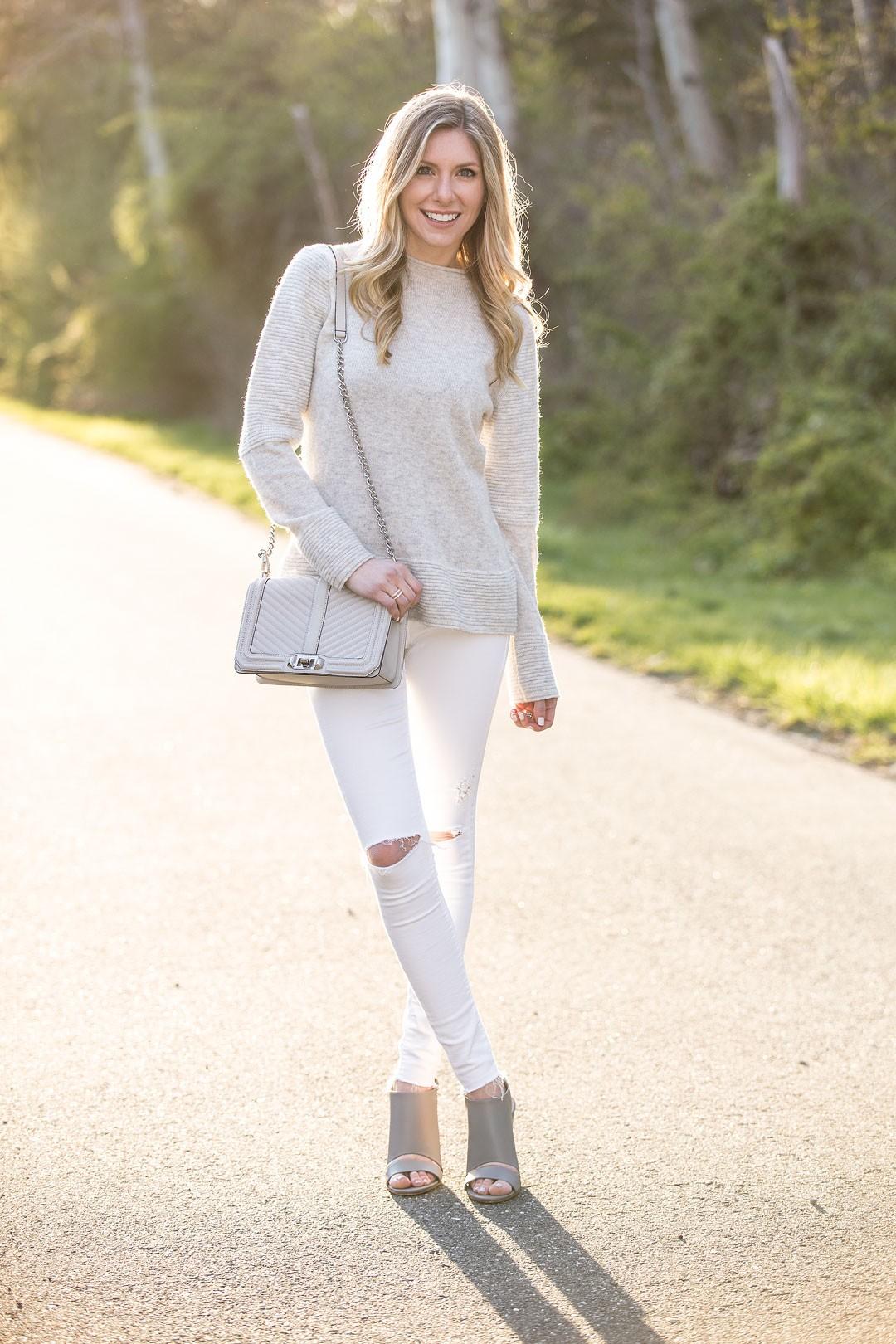 rebecca minkoff bag and j.crew cashmere sweater