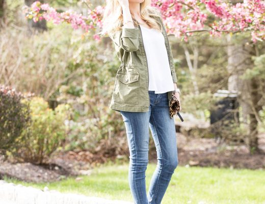 green military jacket, cognac mules