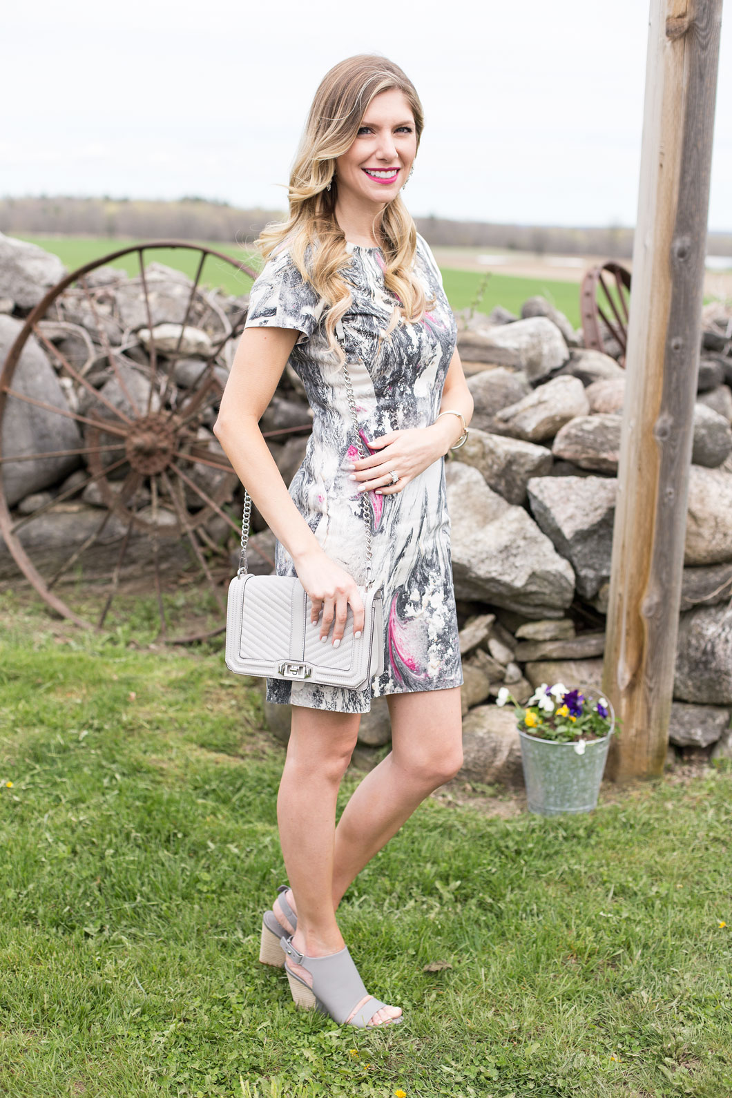 vince camuto sandals and gray dress