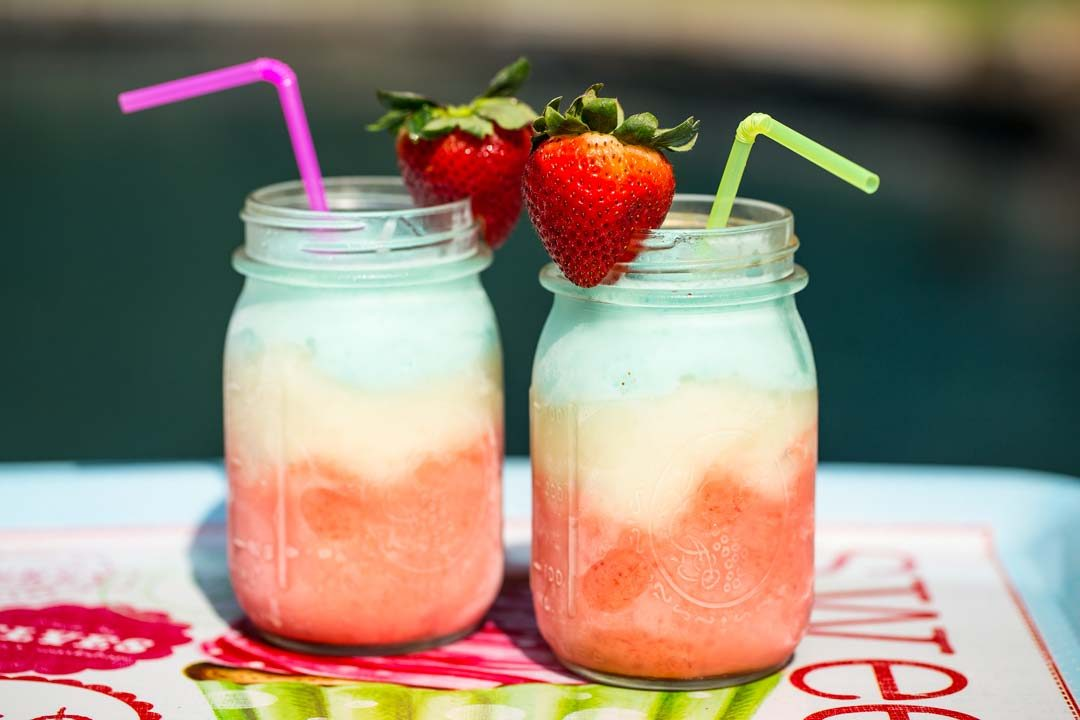 Red, white and blue frozen drink