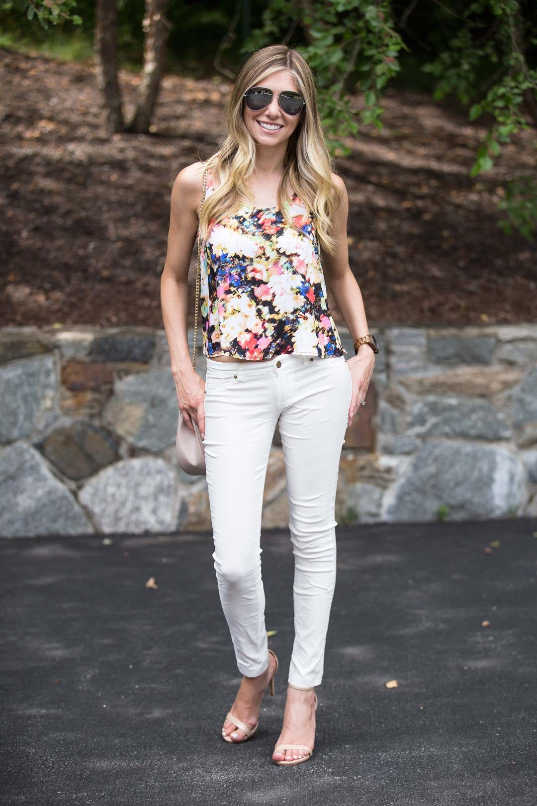 white pants and floral top