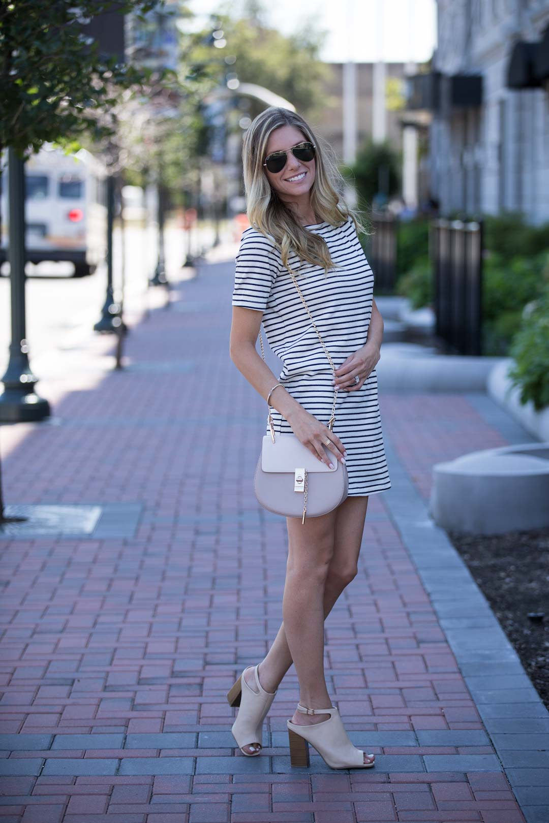 lulus shift dress and mules, chloe nano bag