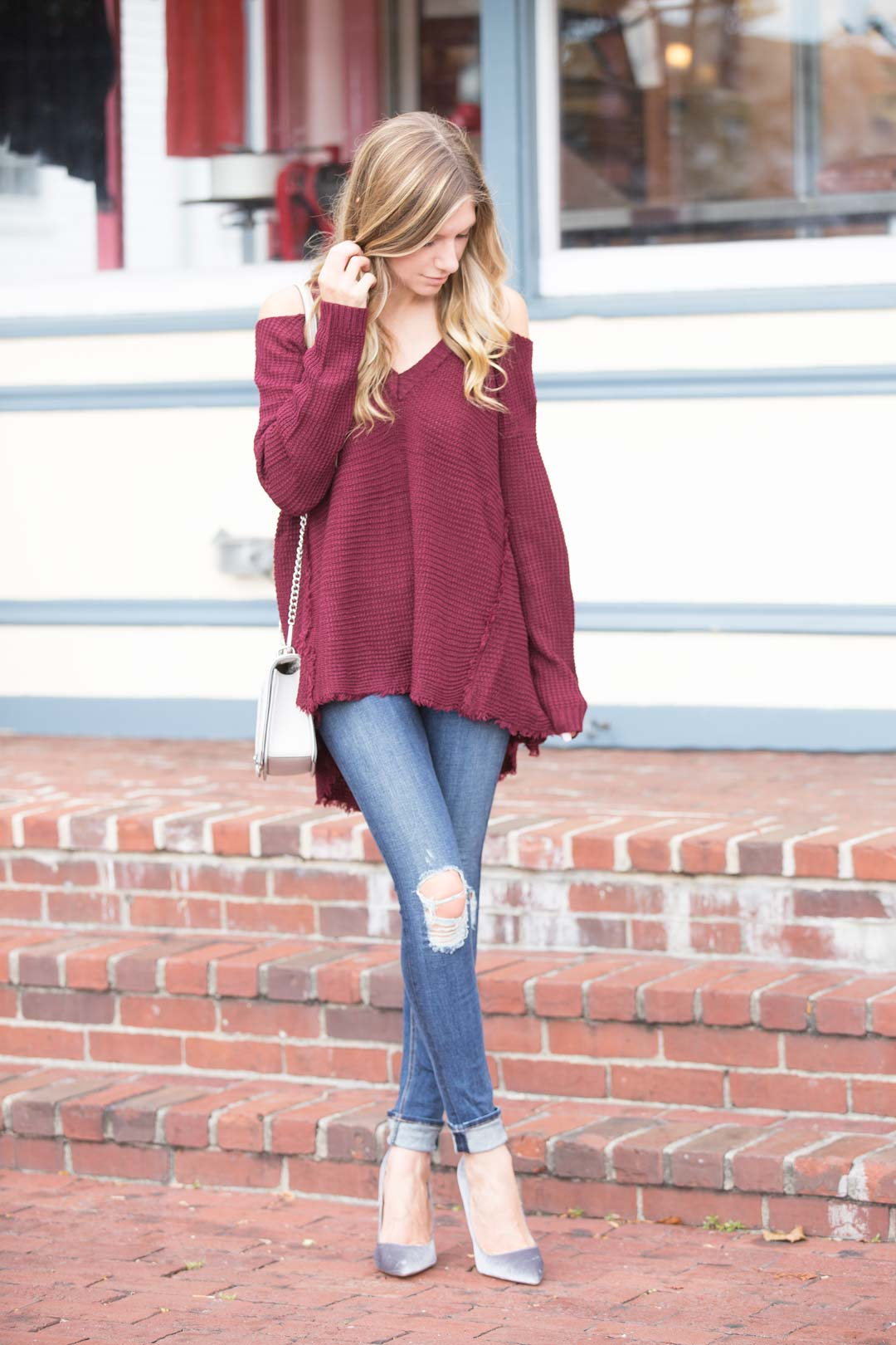 Shein Burgundy Cold Shoulder Loose Sweater