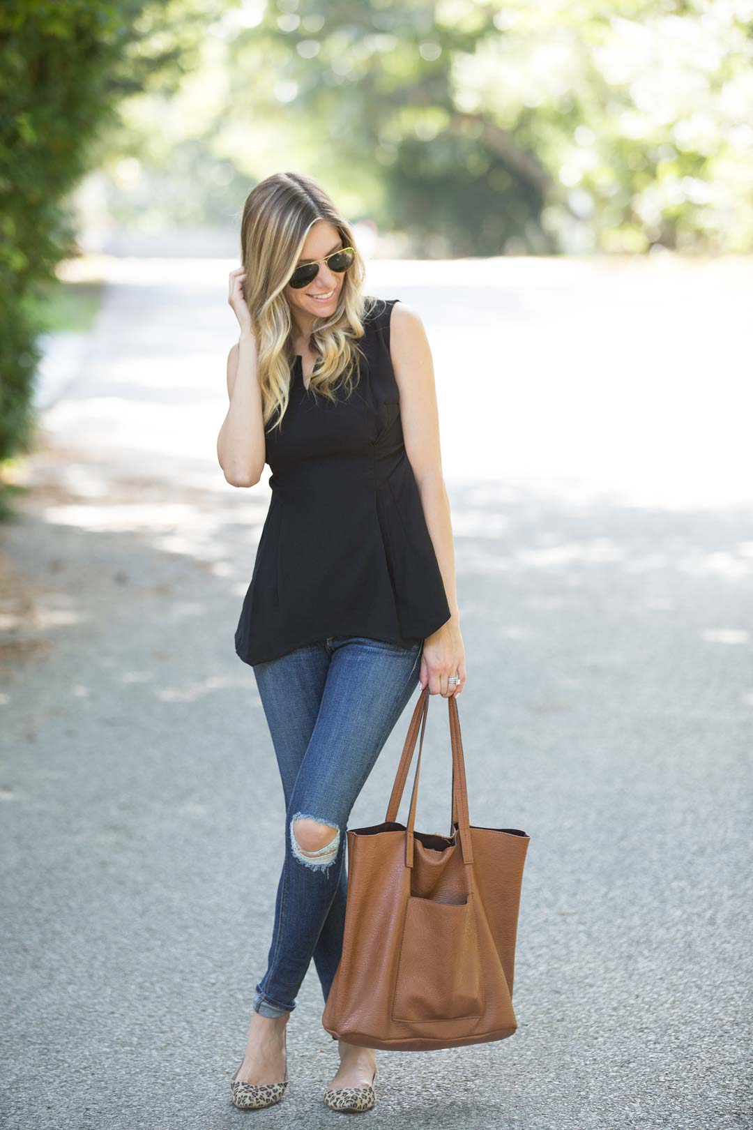 StyleWe peplum top and ripped jeans