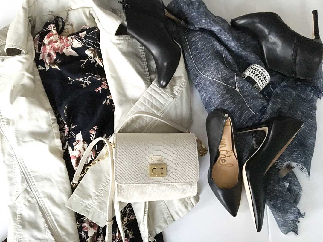 lulus dress and leather jacket, sole society scarf and booties, sam edelmen pumps