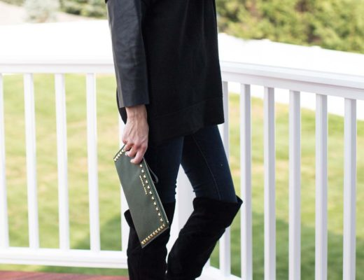 zara sweater with leather sleeves
