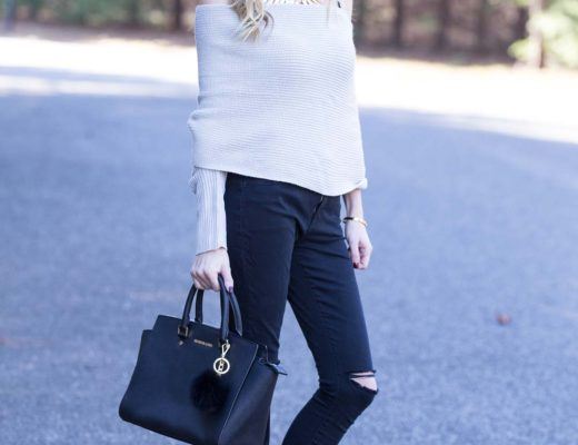 Shein Grey Off The Shoulder Cross Wrap Sweater