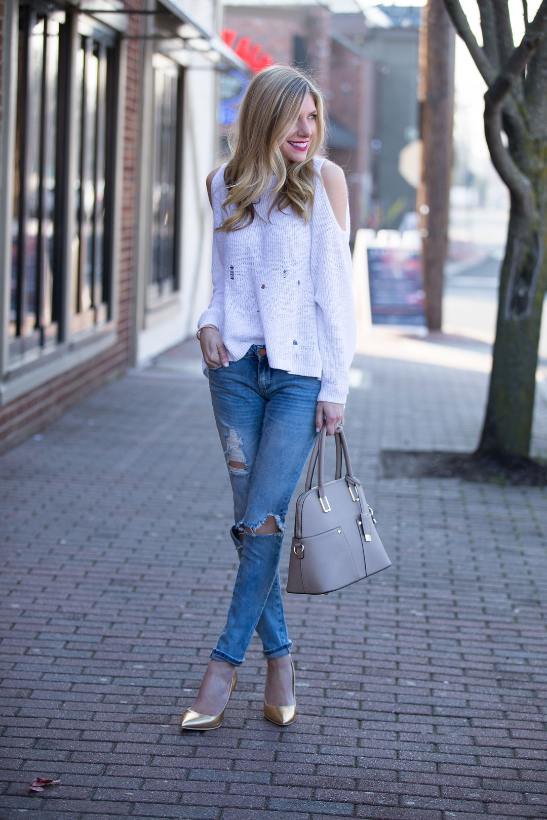 BP cold shoulder sweater and blank denim ripped jeans