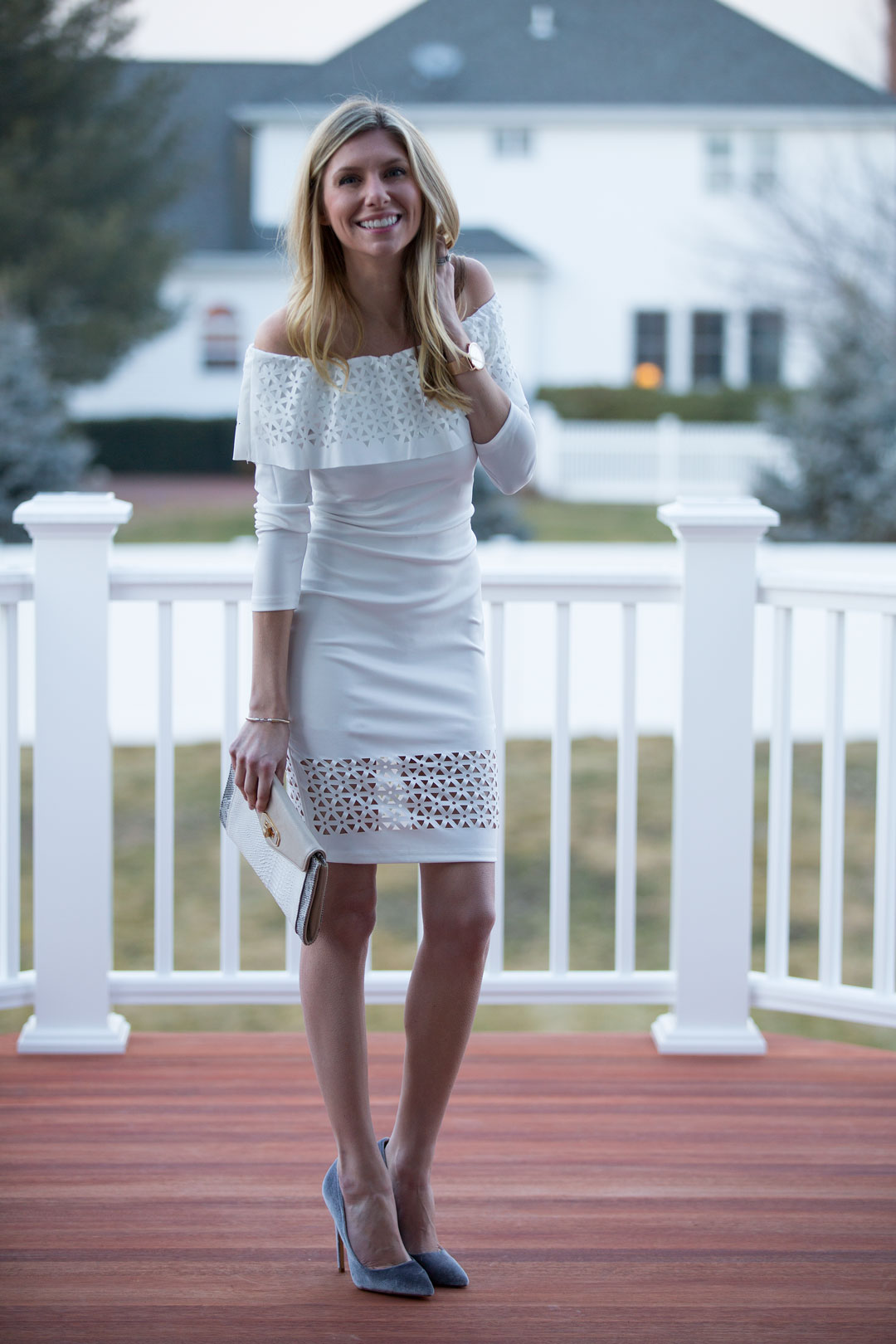 White eyelet dress perfect for valentine's day
