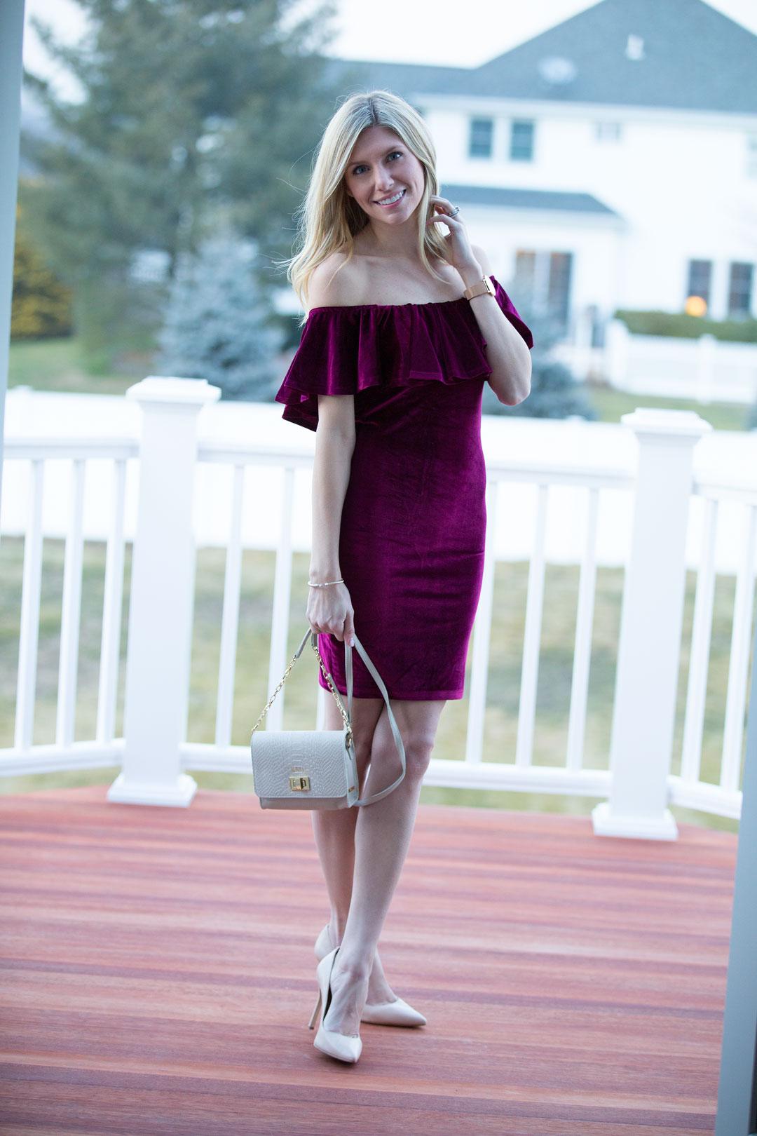 Burgundry Ruffle Dress from Shein under $20
