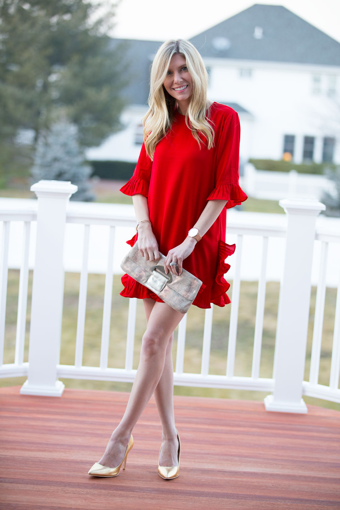 Red Ruffle Dress for Valentine's Day | The Glamorous Gal