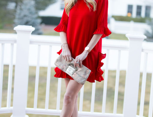 beautiful red ruffle dress for valentines day