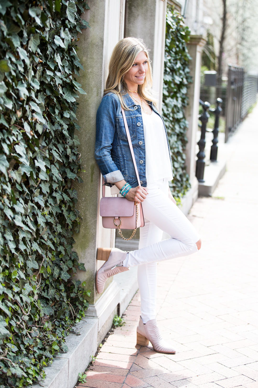 blush, white and blue spring outfit