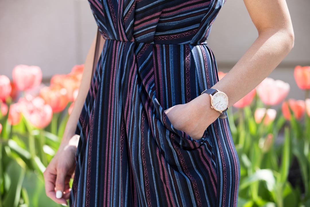 striped wrap dress and timex watch