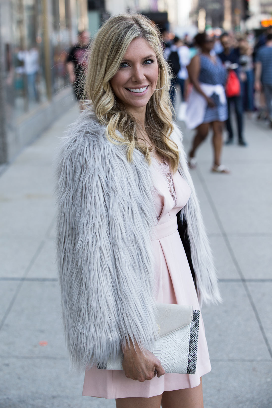 My Chic Faux Fur Coat in Silver under $70
