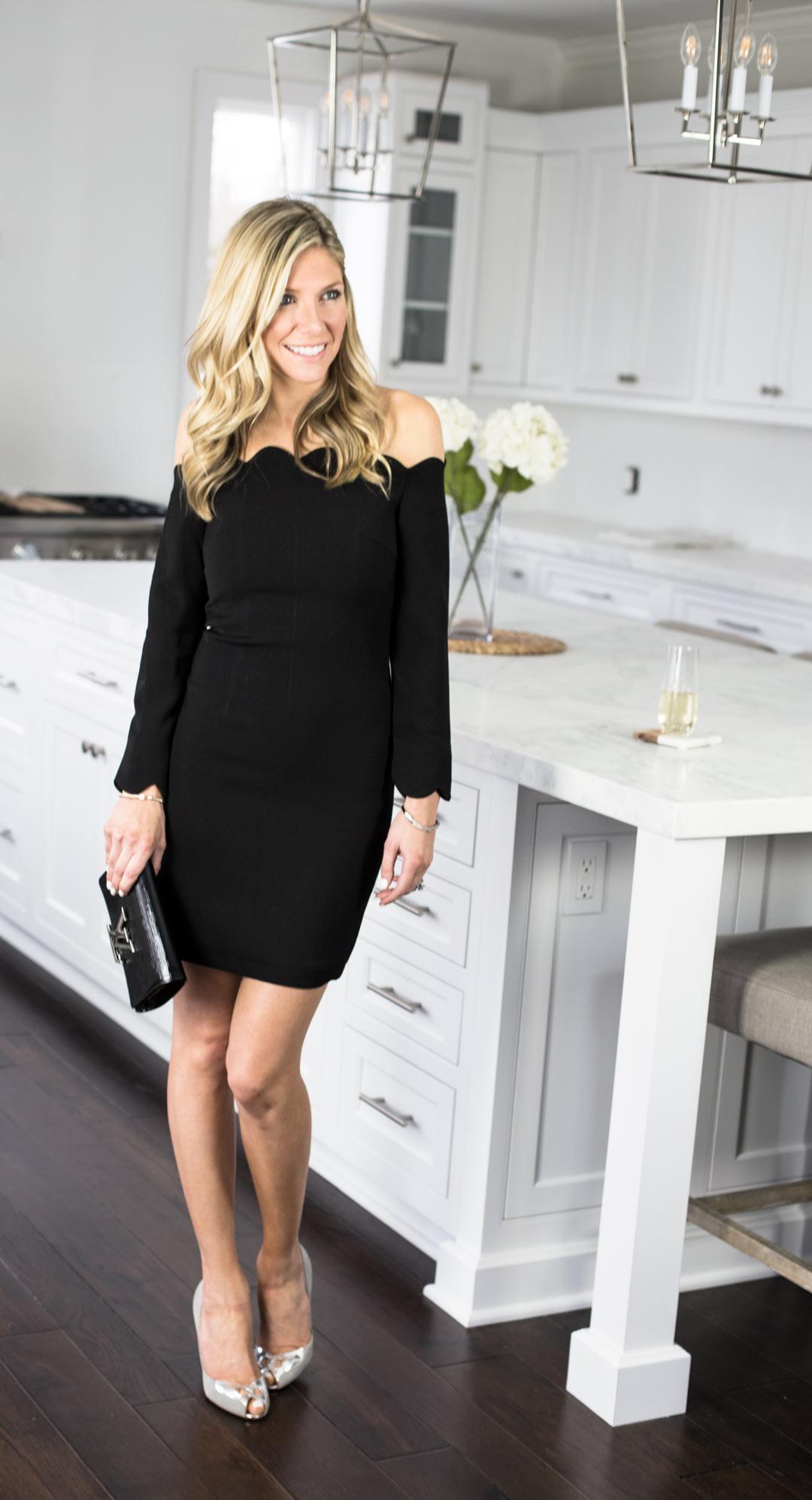 StyleWe Black Scalloped Detail Dress