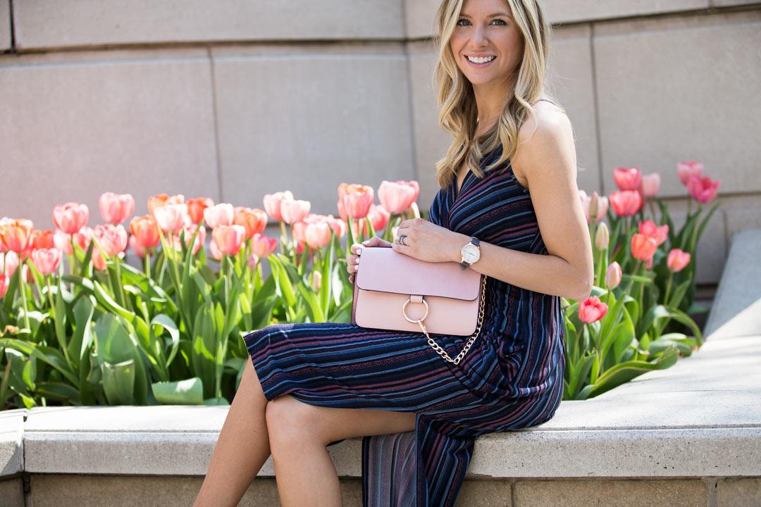 spring essentials including wrap dress and blush bag