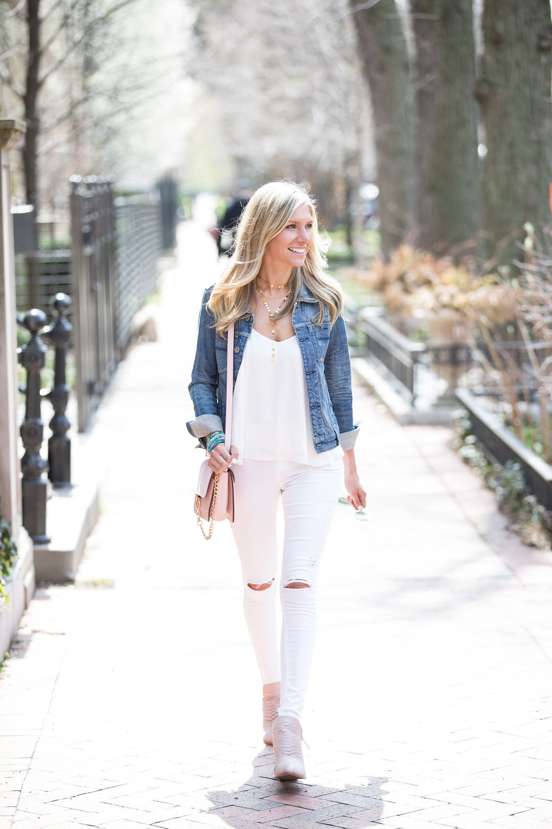 topshop ripped white jeans and blush booties