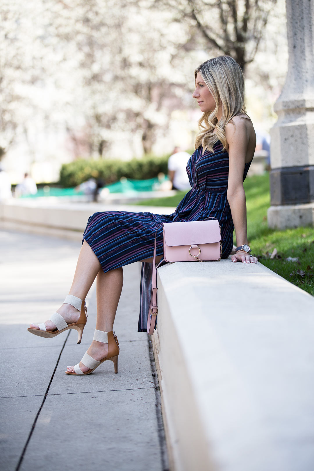 striped draped midi dress from bcbgeneration