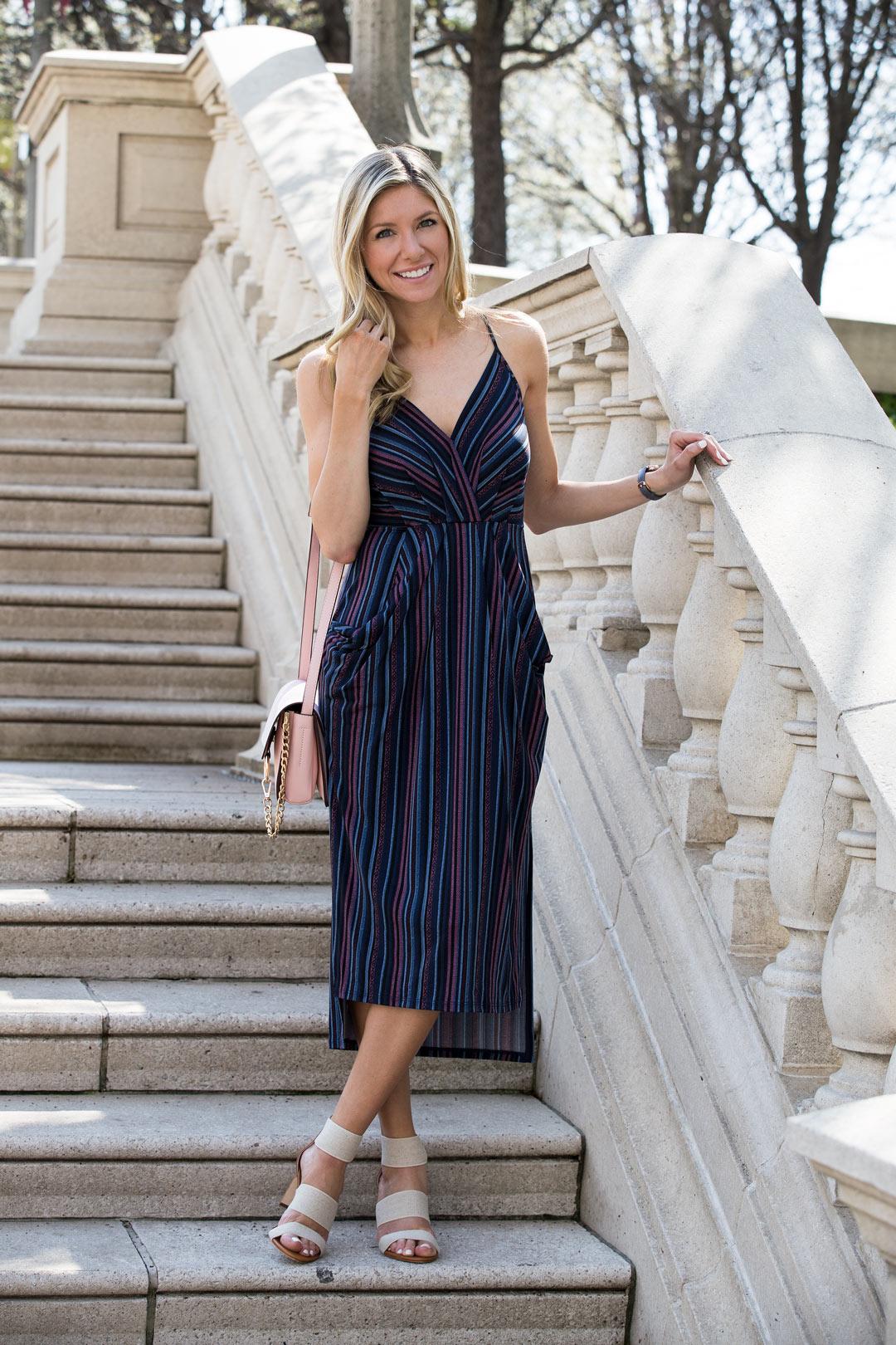 striped midi dress in Millenium park in chicago