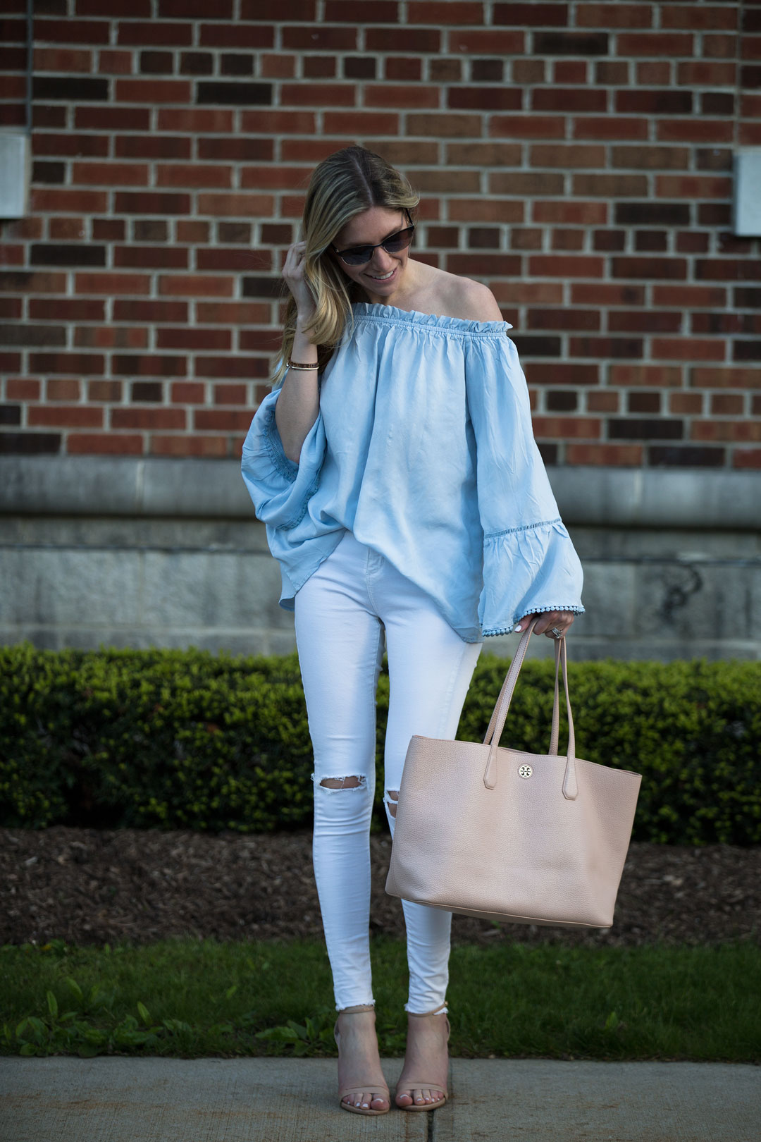 pale blue flowy top perfect for a warm day