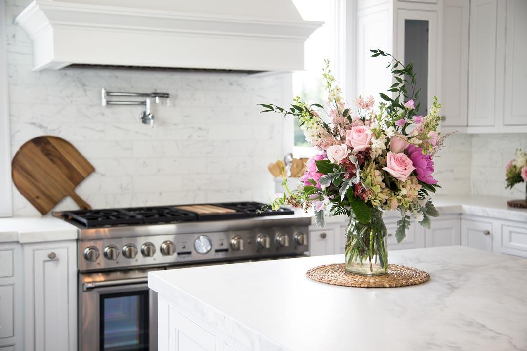 all white marble kitchen