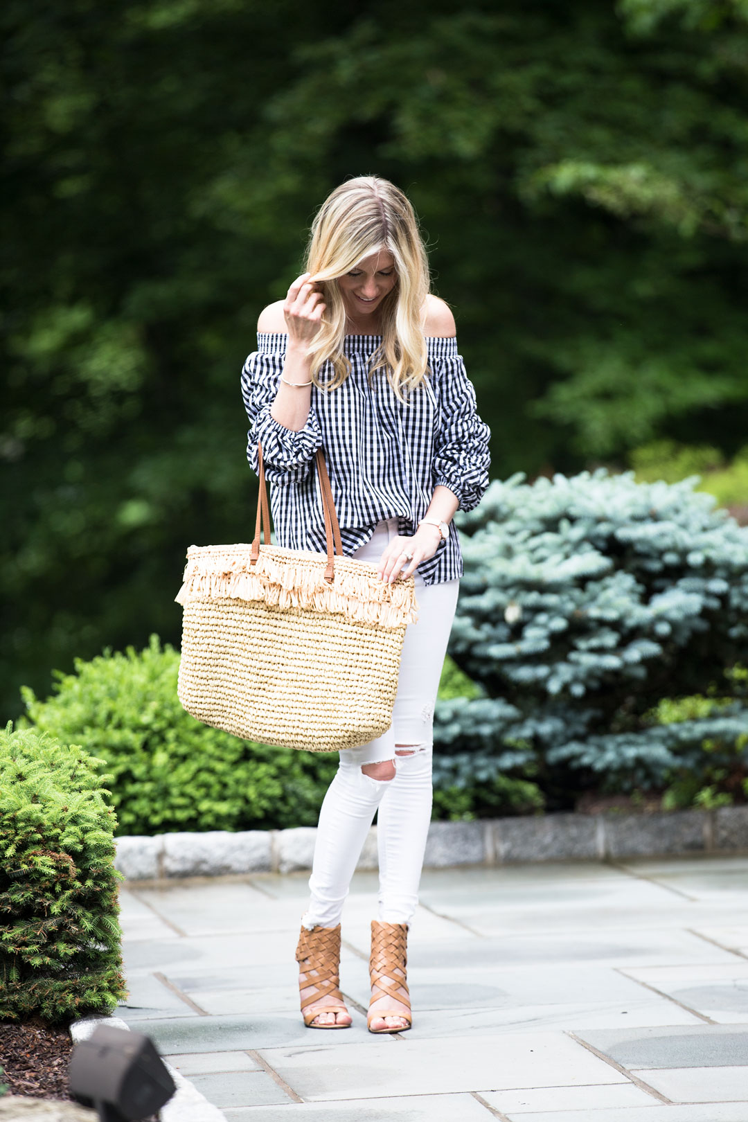 Gingham off the shoulder top from chicwish