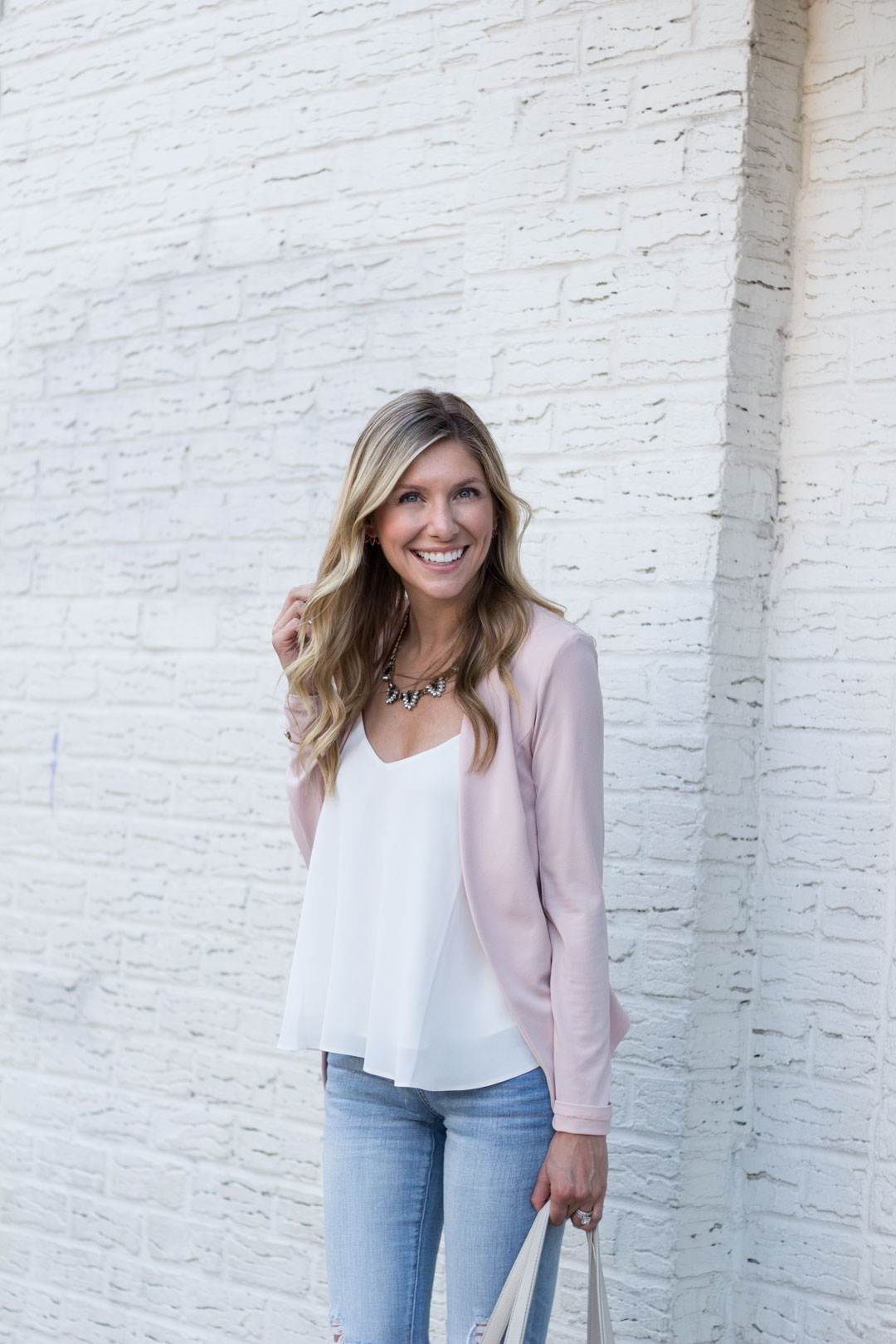blush casual outfit details