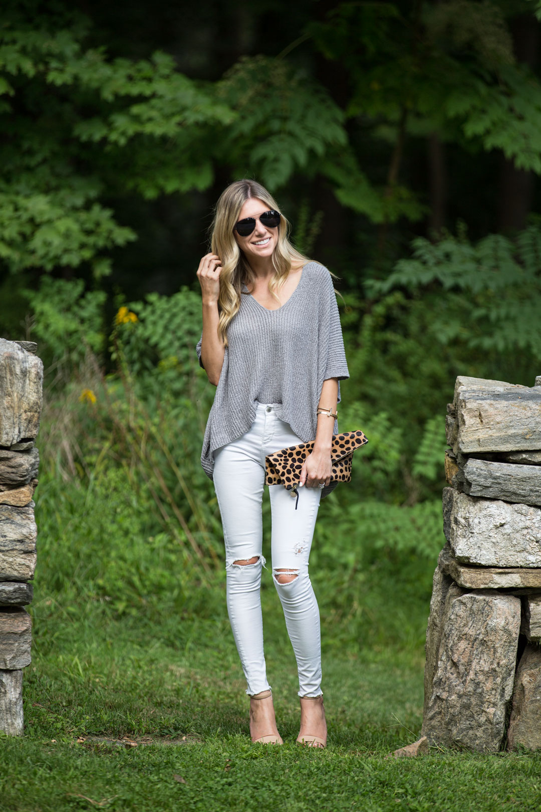 neutral and leopard outfit perfect for dinner