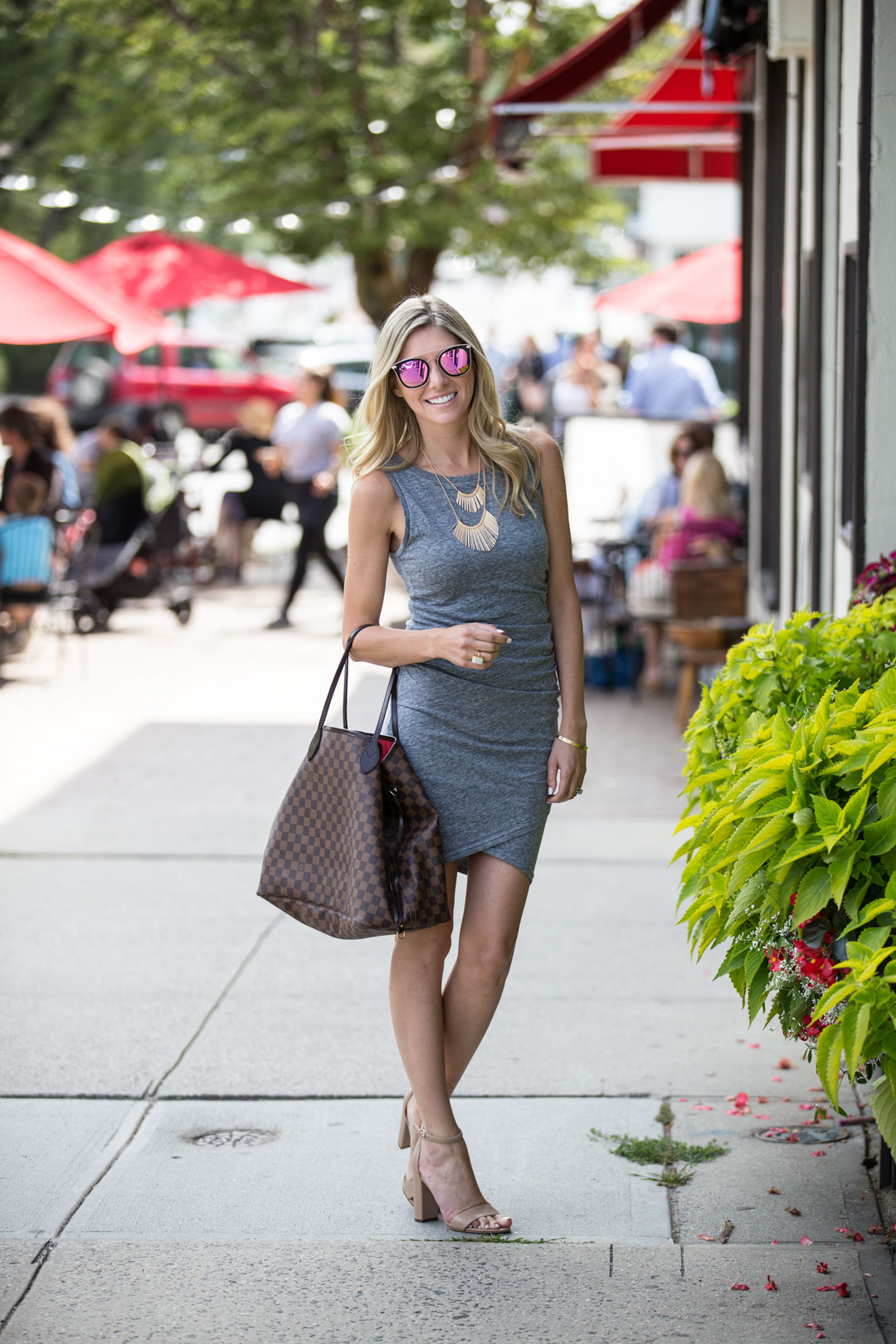 leith wrap dress in heather gray