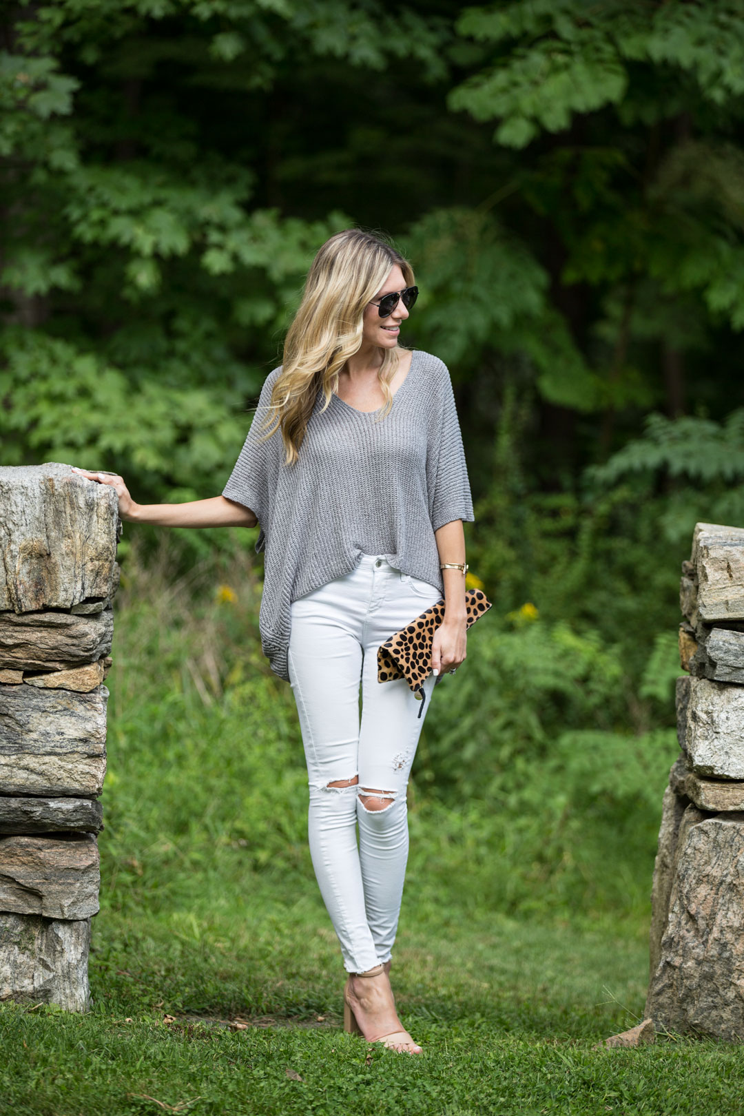 neutral outfit with a pop of leopard