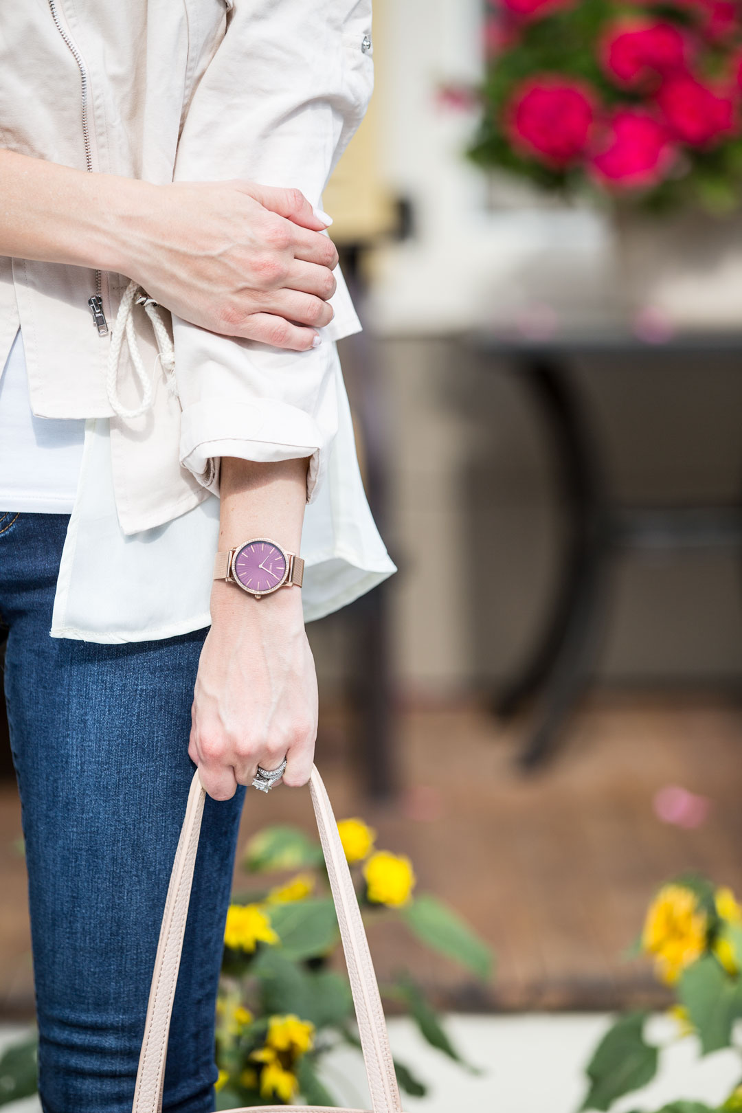 pink timex watch with rhinestones
