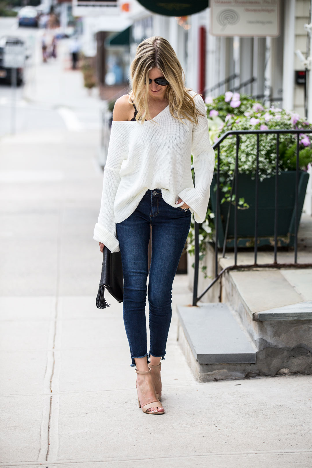 white slouchy fall sweater