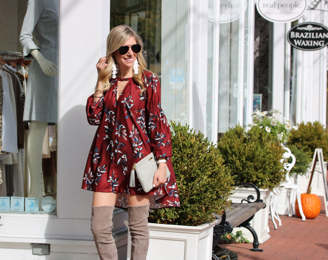 Burgundy Fall Dress and Stuart Weitzman Over the Knee Suede Boots