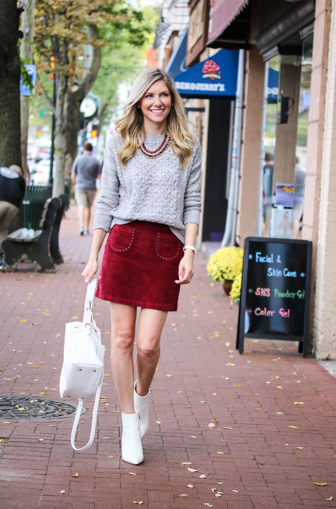 Velvet embellished skirt and gray sweater for fall