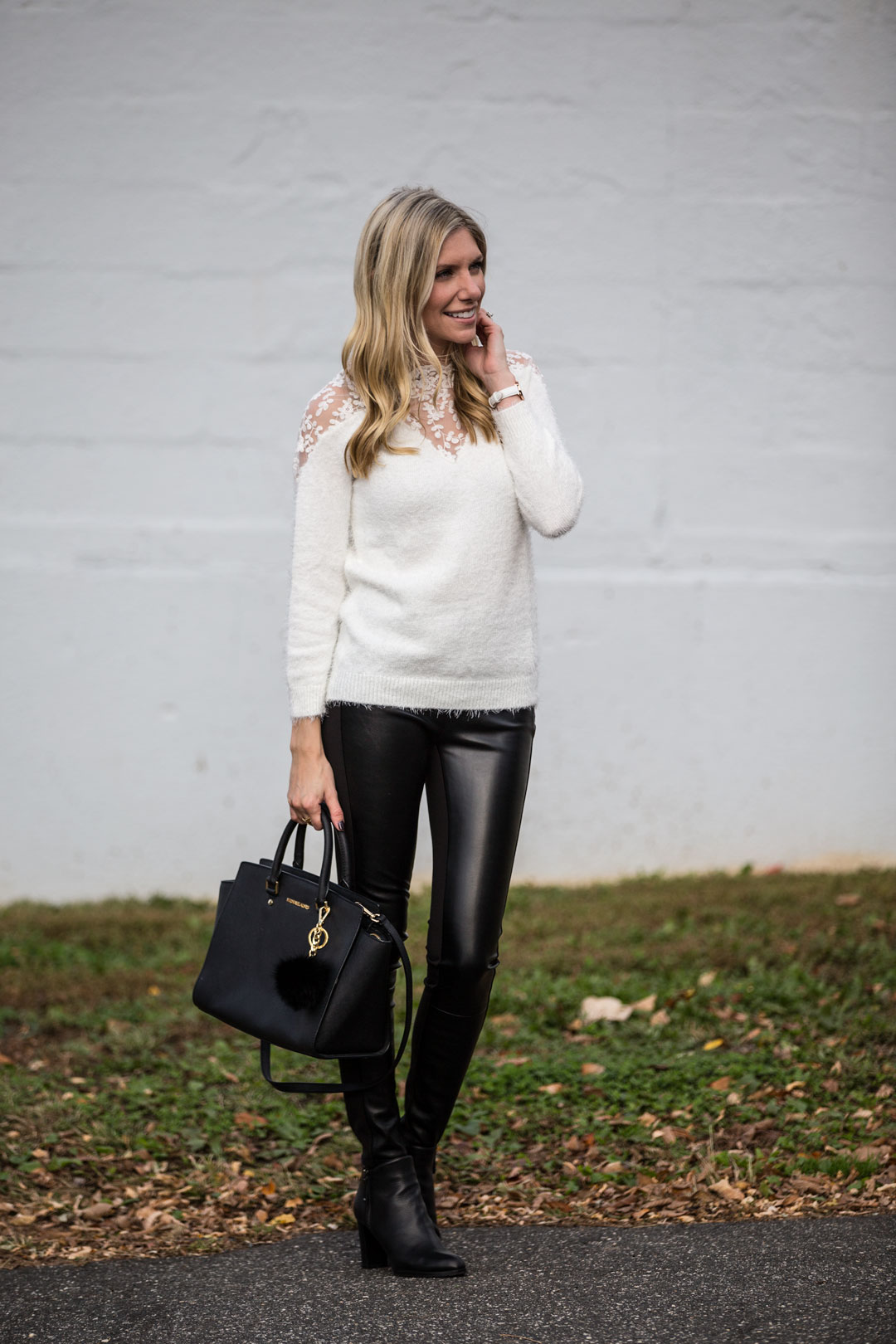 Romwe Lace Mohair Sweater under $25