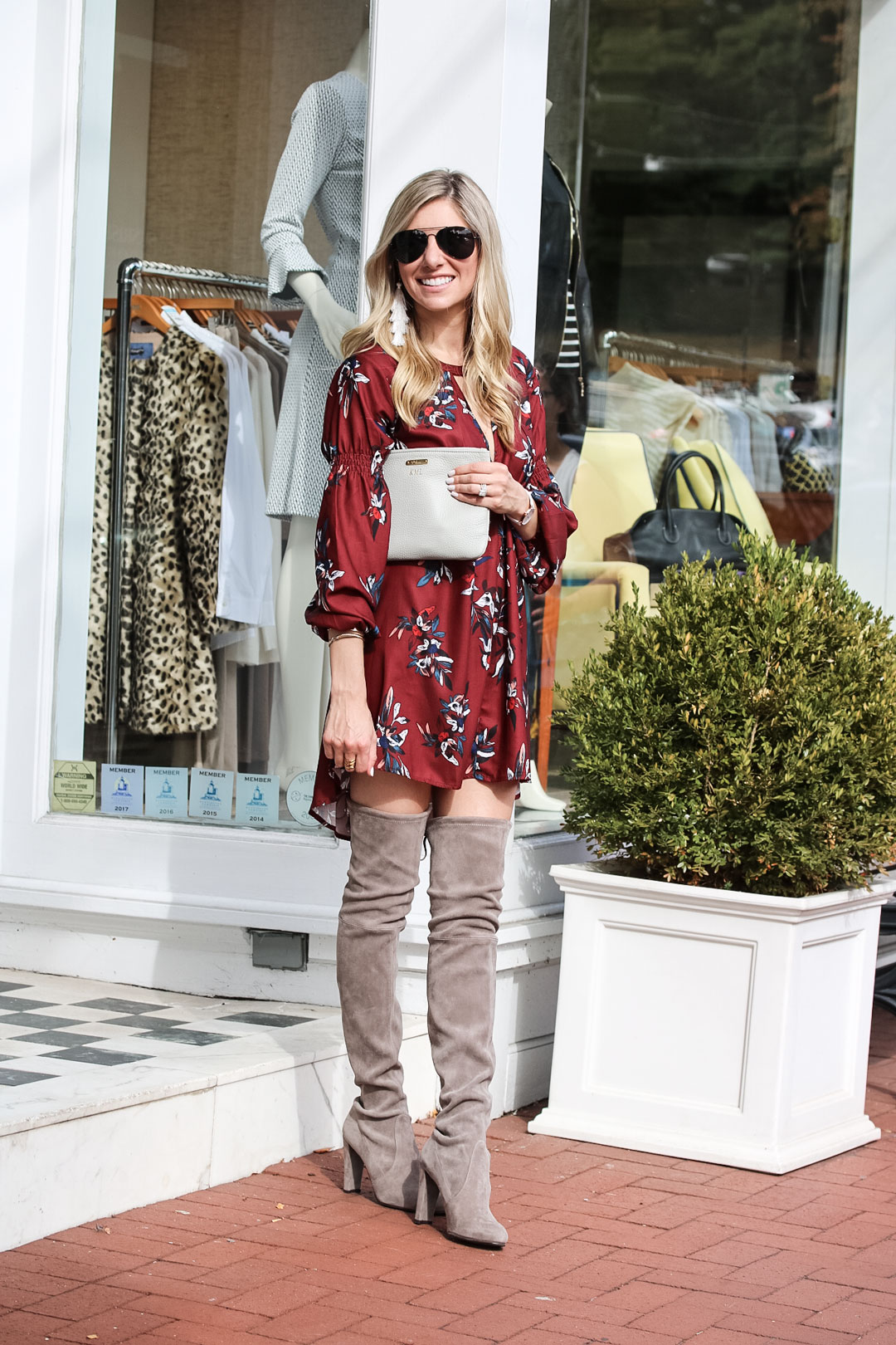 f99447087e6 Burgundy Fall Dress and Stuart Weitzman Over the Knee Suede Boots