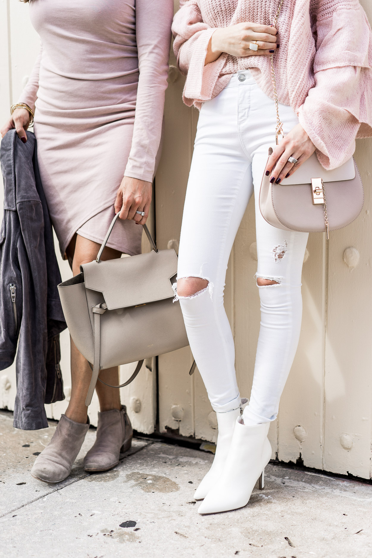 leith blush ruched dress and white ripped jeans