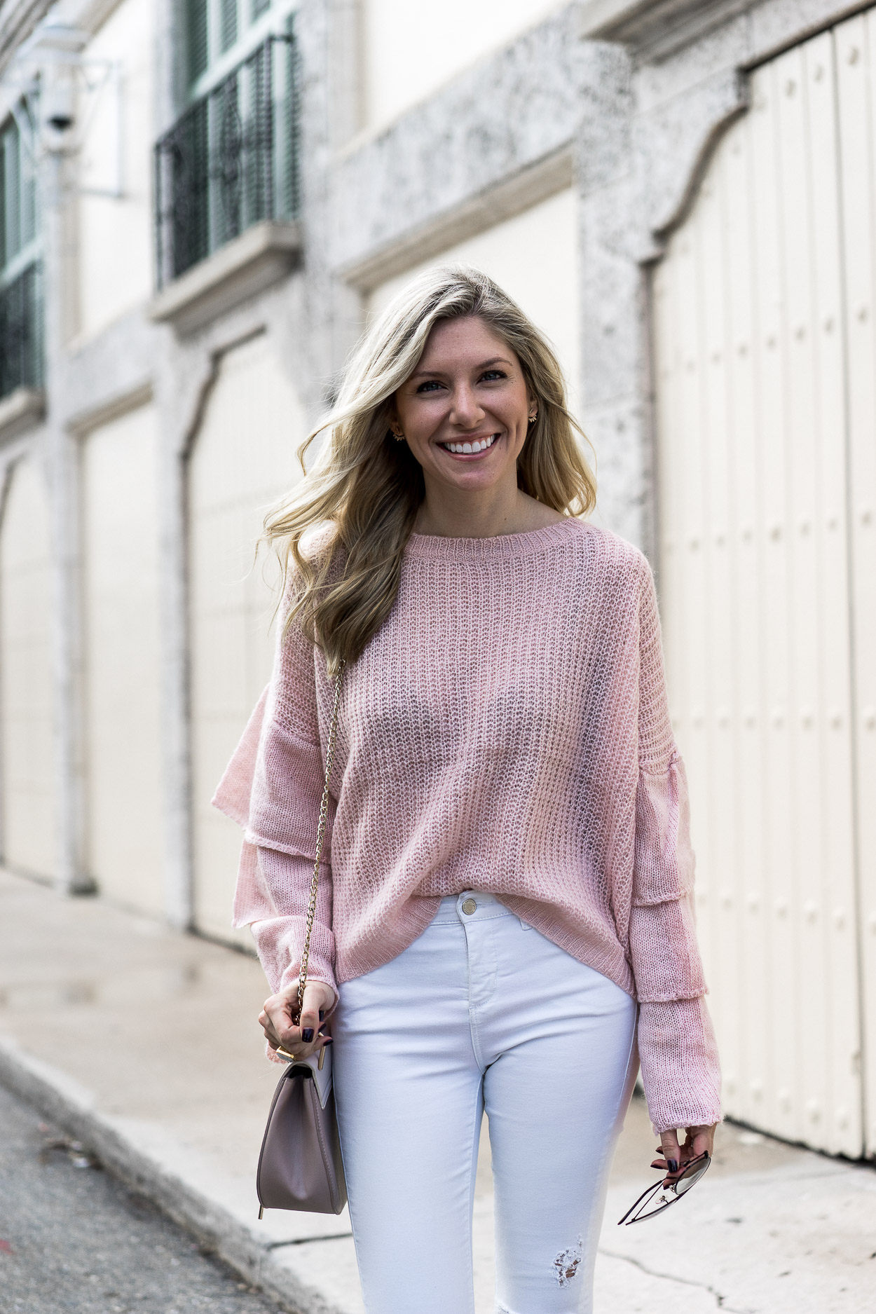 slouchy blush sweater perfect for a casual evening out